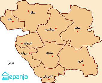 عکس نقشه استان کردستان