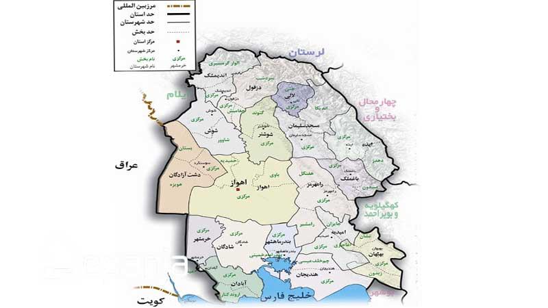خوزستان روی نقشه