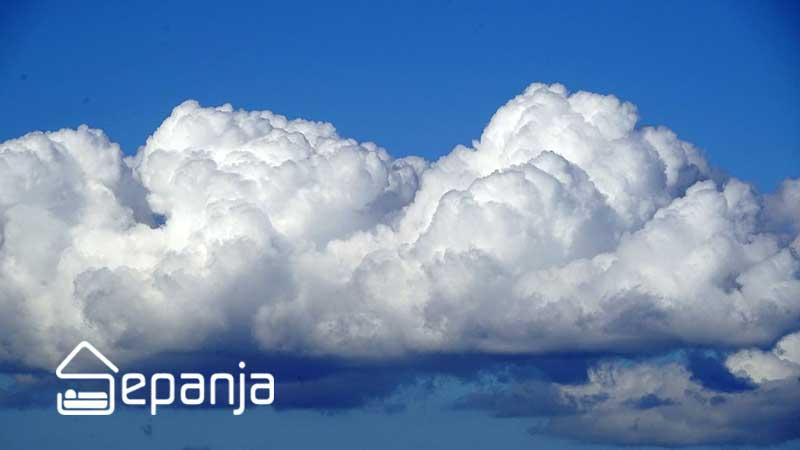 ابرهای کومولوس در وضعیت آب و هوایی در سفر