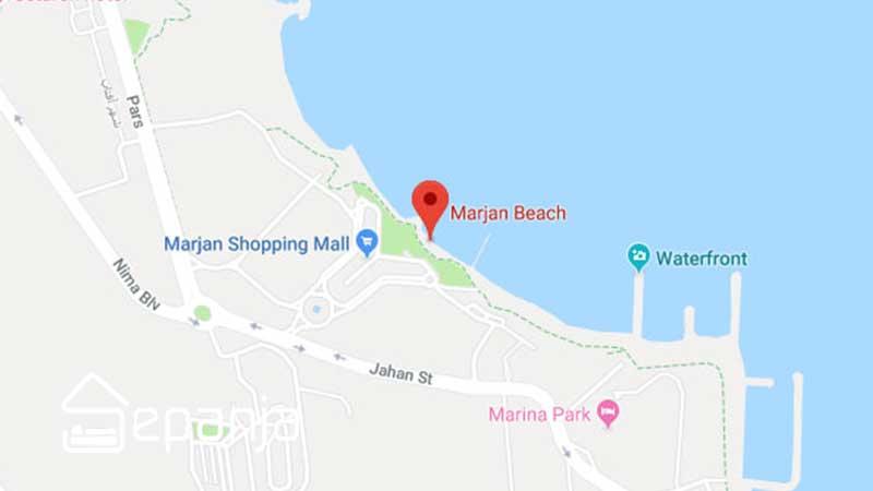 ساحل مرجان روی نقشه