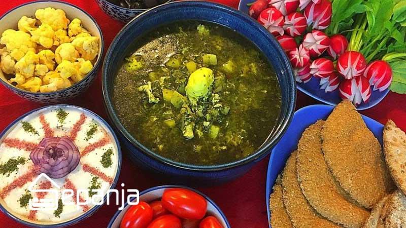 غذای اشکنه اسفناج از غذاهای محلی تهران