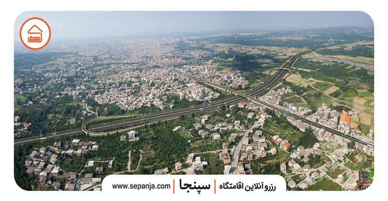 نمایی از شهرستان ساری از بالا