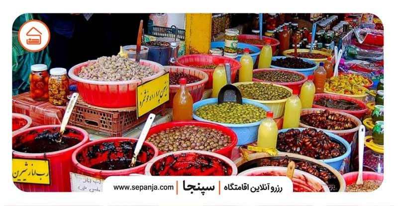 نمایی از ترشی جات بازار روز آمل