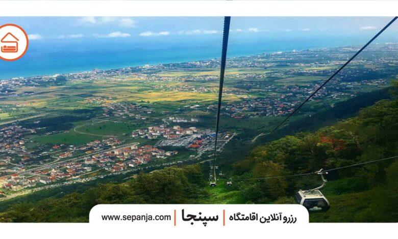 نمایی از تله کابین نمک آبرود در استان مازندران