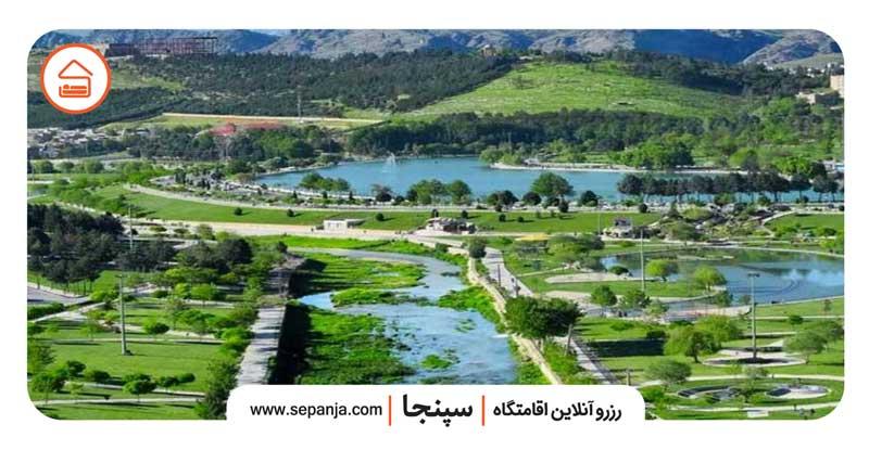 نمایی از شهر و سرسبزی های شهر خرم آباد